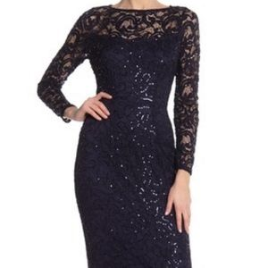 Marina sequence lace long sleeve gown/navy